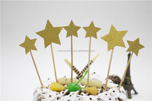 Glitter Paper Star Shaped Birthday Cake Toppers Wedding Party Cupcake Accessories