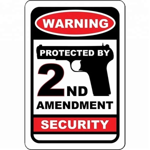Warning Protected by 2nd Amendment Security No Trespassing Weatherproof Waterproof Street Metal Sign Aluminum Signs 12x18""
