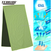 wholesale 100% polyester yarn knitted green towel company logo print