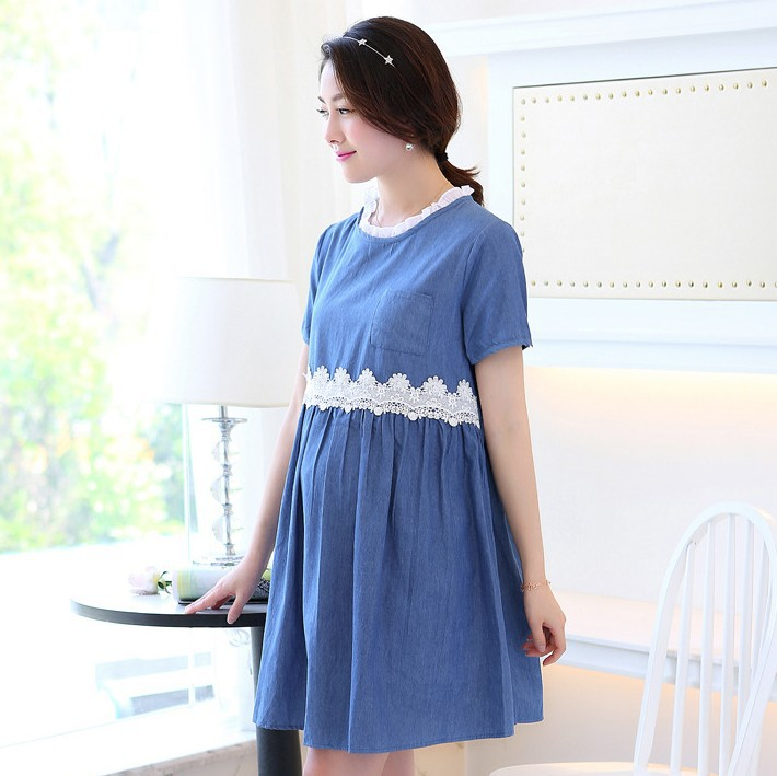 fca077850d5 Get Quotations · 2015NEW~Summer maternity clothes lace stitching denim  cotton dreses for pregnant women fashion adjust maternity