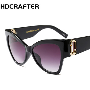 HDCRFTER Fashion cat eye sunglasses luxury quality wide temple sunglasses 2018