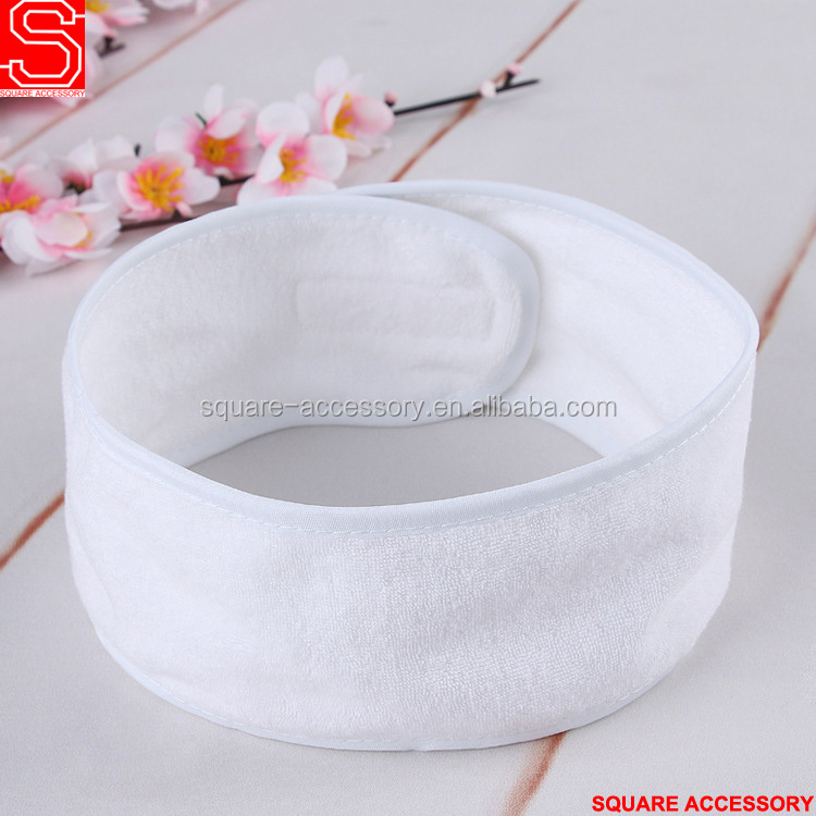 Wholesale Plain Color Blank White Cheap Cotton Terry Spa Headband