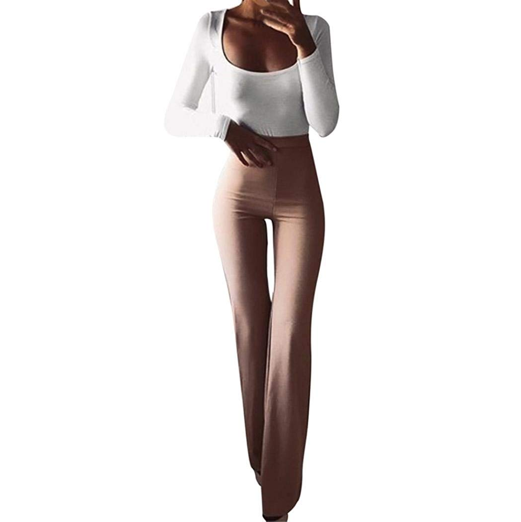35324ad0c3 Women's Boho Solid High Waist Wide Leg Flared Bell Bottom Pants Long  Palazzo Pants