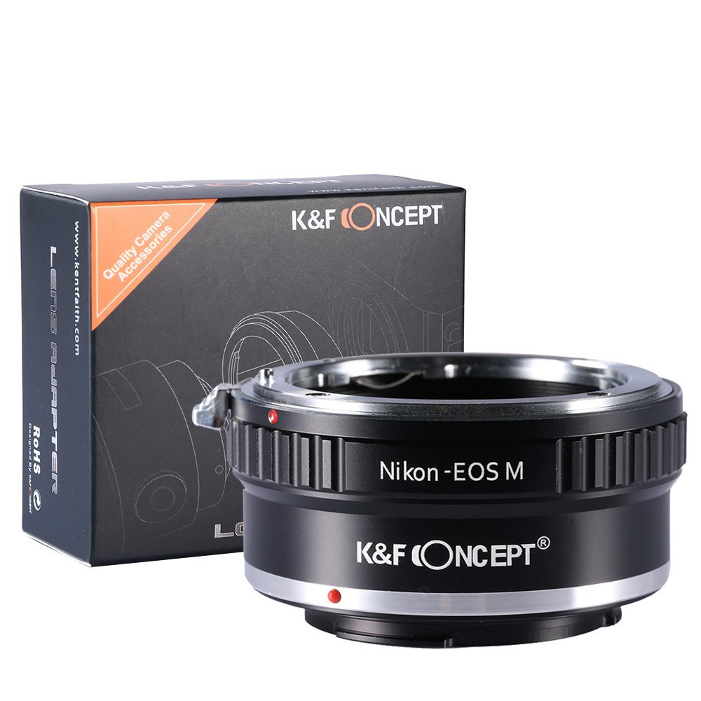 K&F Concept Lens Mount Adapter, Nikon AI Lenses to the Canon EOS M Mirorless Camera Body