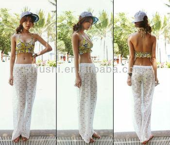 74e499eba7254 Just Arrivals Stock White Crochet Pants Beach Cover Ups - Buy Cover ...