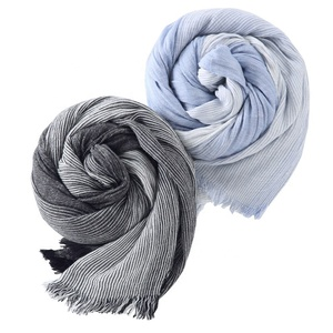 Good Quality Autumn Winter Scarf Shawl Maroc European Black Stripe Linen Scarf Pashmina Hijab Men Women Cotton City Scarf