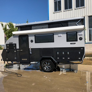 Offroad luxury hybrid caravan with ensuite inside