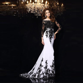 9d69eed26d9f Elegant Sexy Black Lace Evening Gowns Long Sleeves Women Dresses 2018 New  Collection