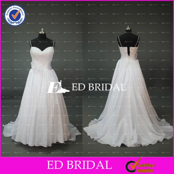 Elegant White Spaghetti Strap A Line Taffeta Wedding Dresses For Fat Woman