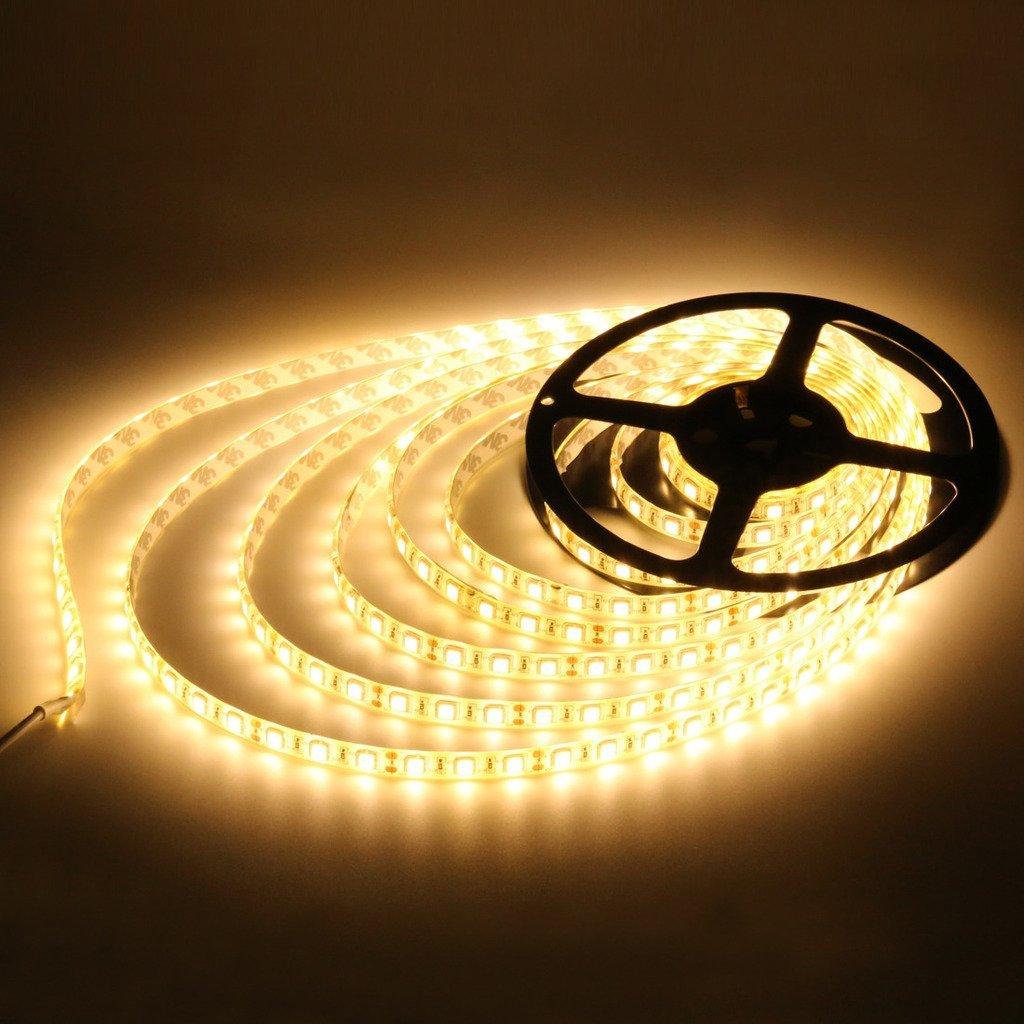 LEDMO 12V 5050 LED Strip, Warm White 3000K, 16.4Ft, Super Bright 300 Units SMD 5050 LEDs, Waterproof, 5050 Flexible LED Strip Lights, LED Light Strip