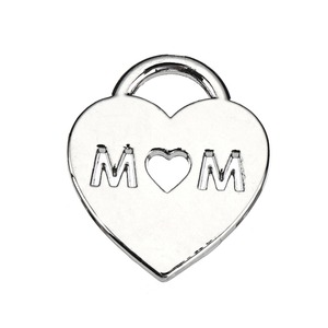 Fashion Style Silver Plated Heart Mom Charm as gift for mother's day