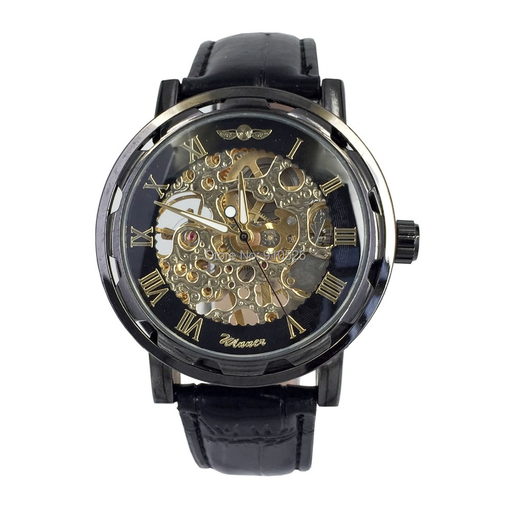 Winner Men's Black Case Skeleton Dial Hand-Wind Mechanical Stainless Steel Leather Band Wrist Watch | WINK0022