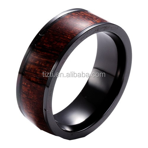 Titanium ring inlay with Real Rose wood fashion jewelry for men's