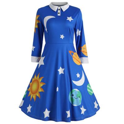 F20935A wholesale long sleeve lapel sun moon star print vintage dresses for women, Purple;black;blue