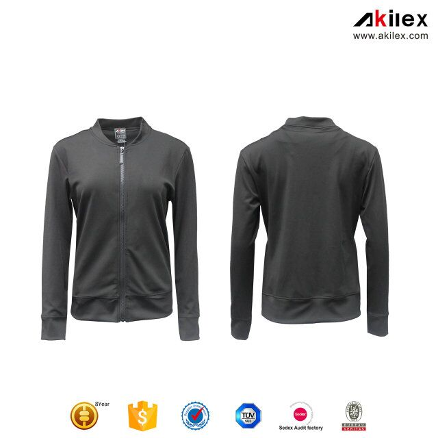 2017 Akilex New fashion dry fit full zip long sleeve running shirt sports athletic fitness yoga women running jacket