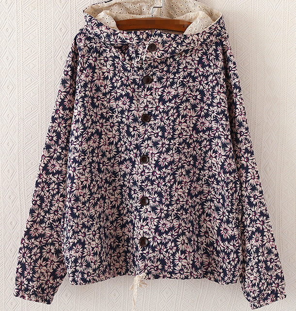 S10262A autumn coat national wind ladies flower printed hoodies coat