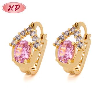 Por Jewellery Designs Rose Gold Tanishq Pink Diamond Earrings