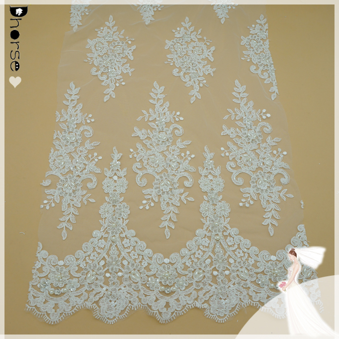 White/Ivory Embroidered Floral Corded Lace Mesh Fabric decorated with beads and sequins for bridal wedding dress-DH-BF662