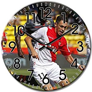 Functional Round Wall Clock Arabic Numbers Silent Frameless Monaco FC Gift 10 Inch / 25 cm Diameter