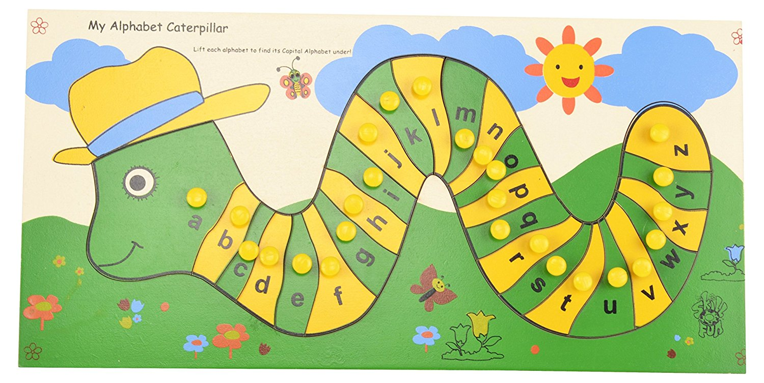 Buy Skillofun Capital Abc Alphabet Puzzle Tray With Picture And Knob My Caterpillar Lower Knobs