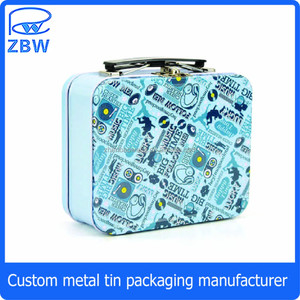 Cute anime suitcase metal lunch box for metal tin children suitcase