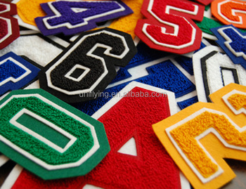 No minimum custom iron on embroidered letter towel chenille patches