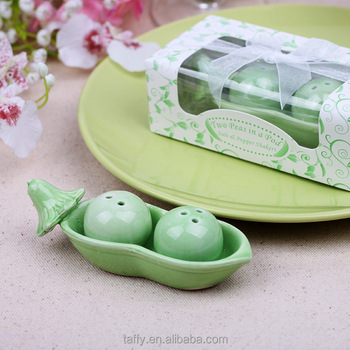 Baby Shower Gifts Wedding Decoration Supplies Guest Souvenirs Ceramic Favor Pea Salt And Pepper Shaker