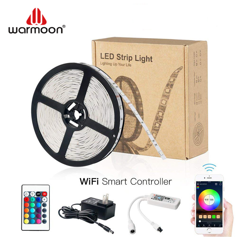 Intelligent LED Light Strip 5 Meters <strong>RGB</strong> IP65 5050 Smart WiFi Strip Lights,Remote Control by Phone