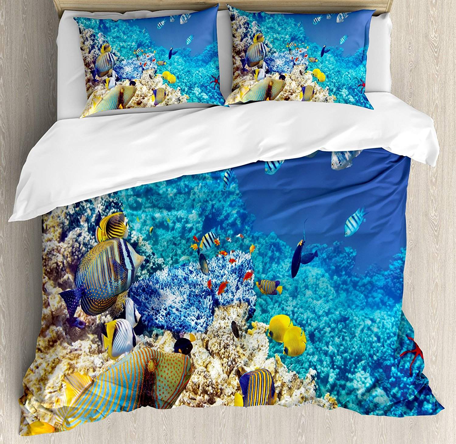 Ocean Duvet Cover Set King Size by Ambesonne, Clear Sea Animal World Corals Tropical Fishes and Starfish Egyptian Sea Image, Decorative 3 Piece Bedding Set with 2 Pillow Shams, Aqua Blue and Tan