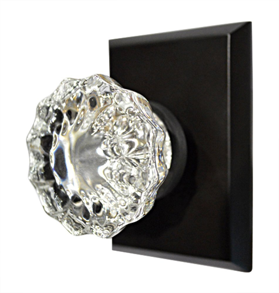 Privacy Locking Set - Regency Fluted Knob with Square Rosette in Oil Rubbed Bronze