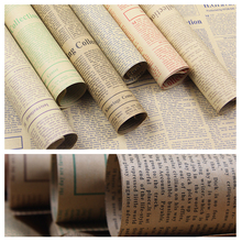 English Newspaper brown kraft paper rolls Custom printed 80gsm 115gsm packing flower wrapping paper