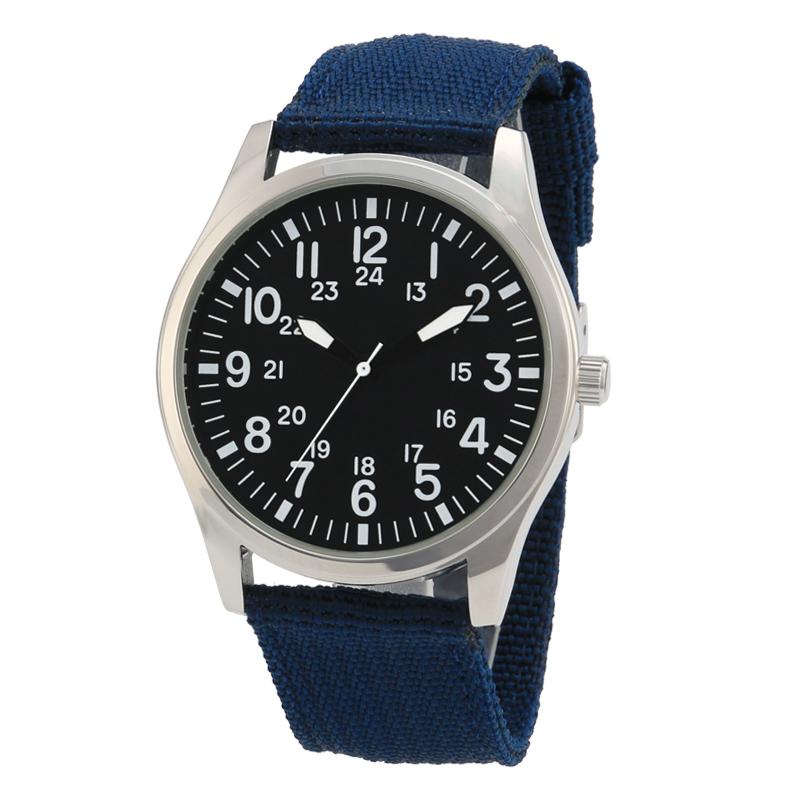 New design solid blue nylon wrist mens watch фото