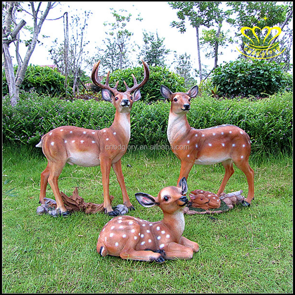 Fiberglass resin christmas animal deer statues outdoor for Outdoor christmas sculptures