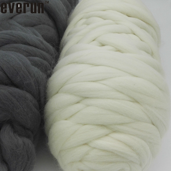 21-23micron super bulky knitted merino wool tops roving hand knitting thick yarn