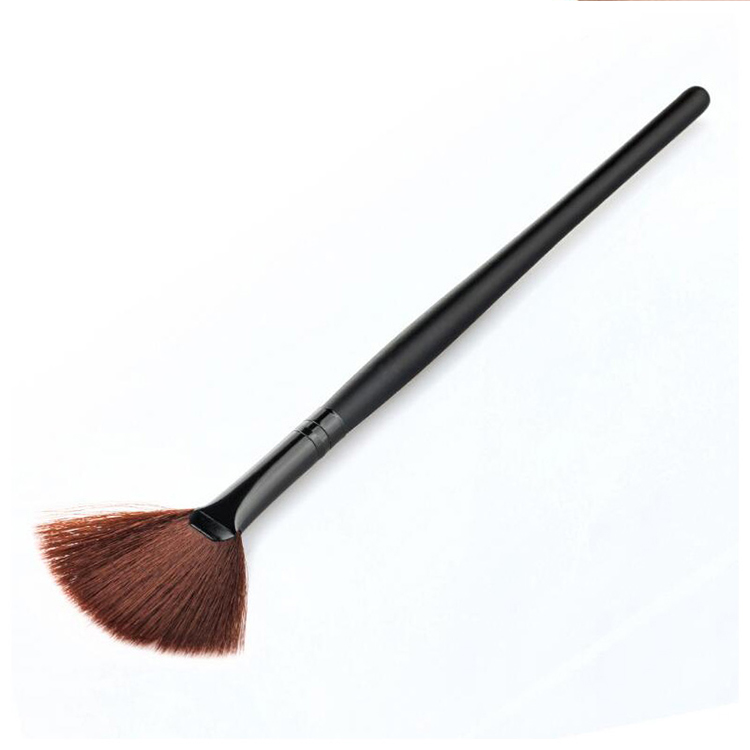Professional Fan Shape Makeup Brush Foundation Powder Highlighter Cosmetic Beauty Face Contour Black Brush Tools