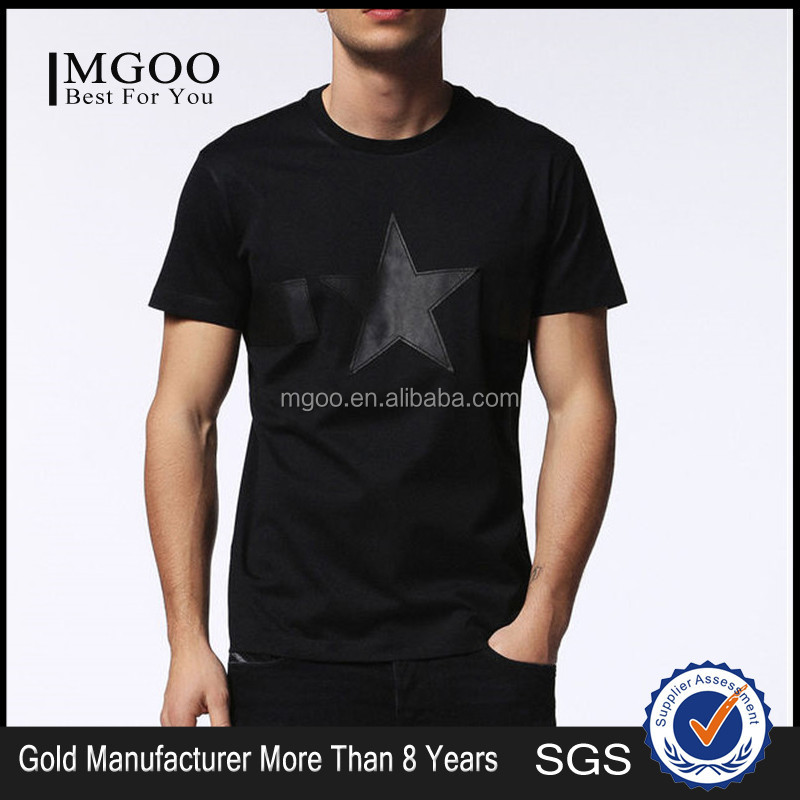 MGOO New Arrival Black Applique PU Shirt Muslim Fitness Mens T-shirt Custom Embroidery Round Neck Shirts