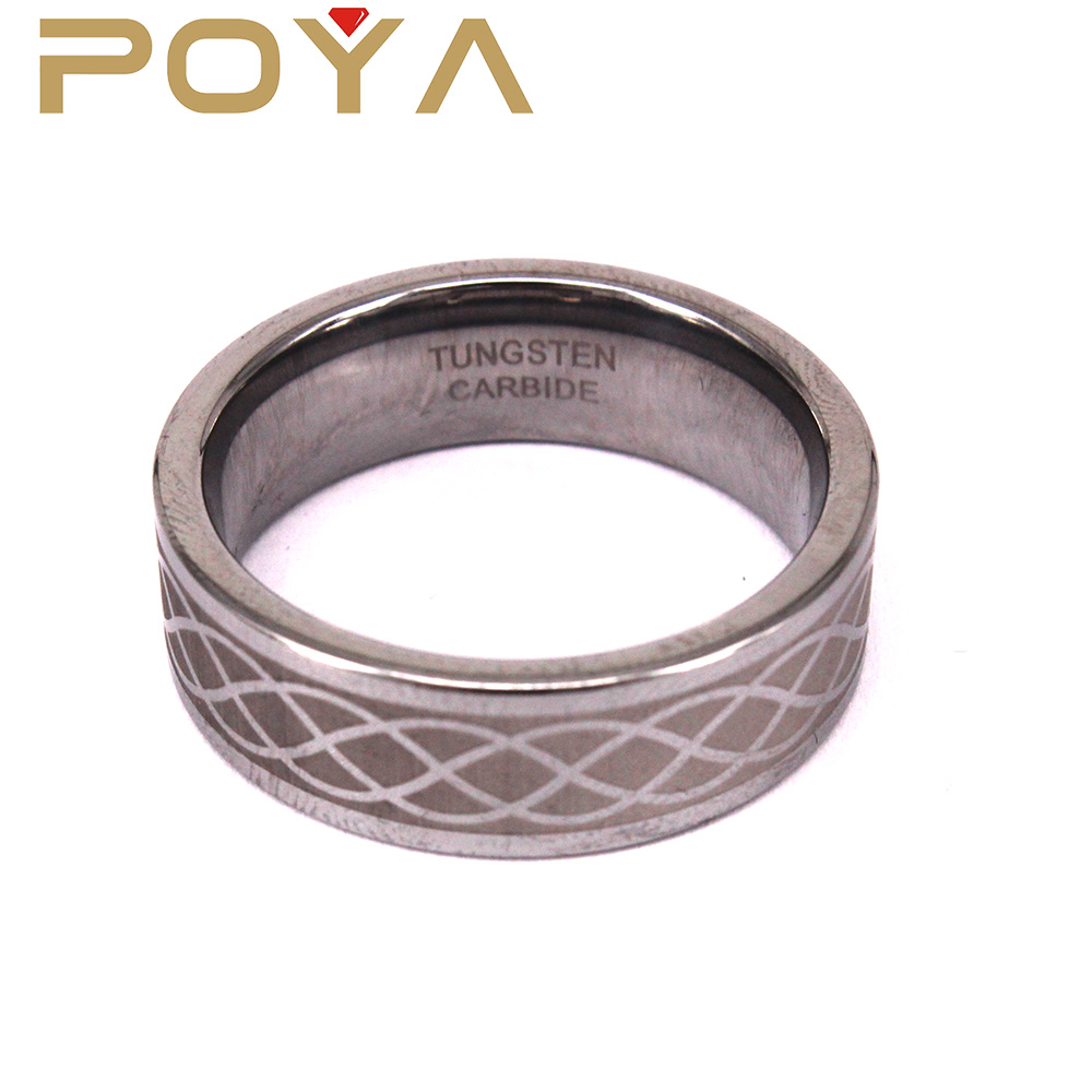POYA Jewelry Hot Selling Free Laser Your Own Design Tungsten Steel Finger Ring Comfort Fit 8mm For Boys And Girls