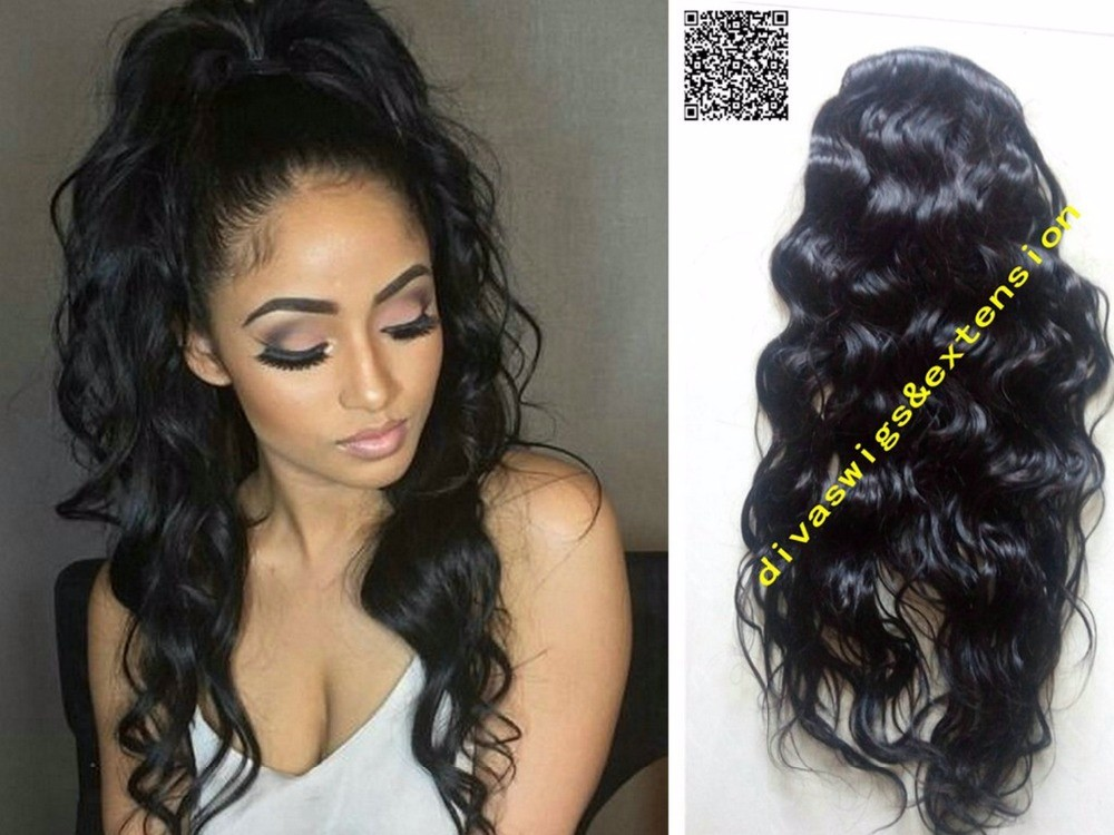 Natural Wavy Human Hair Ponytail Hairpiece Clip Drawstring Extension 120g Free Ship
