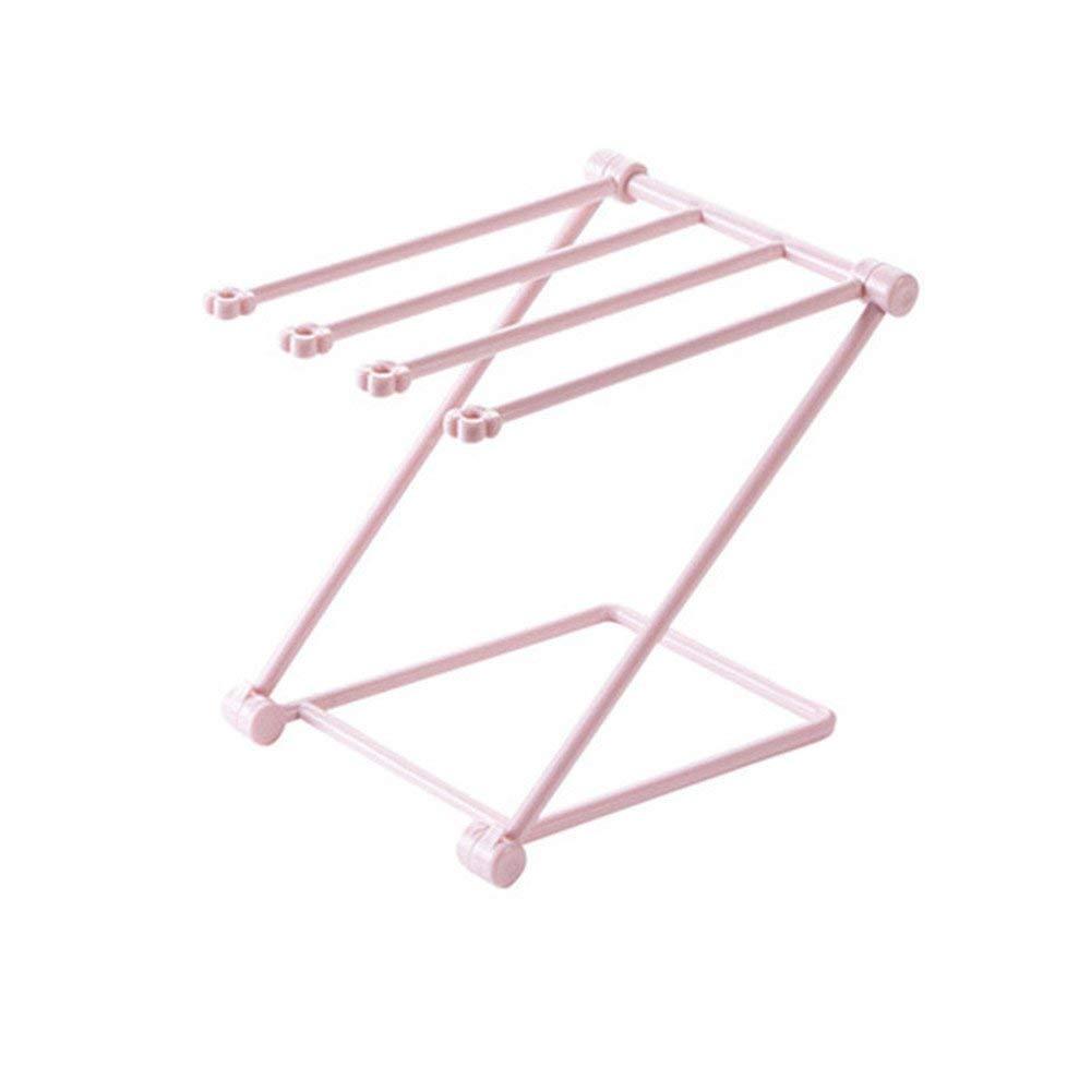 Trrut Home Creative Multifunctional space Collapsible Vertical Kitchen Rag Rack Dishcloth Hanging Rack Desktop Drain Cup Holder (Pink)