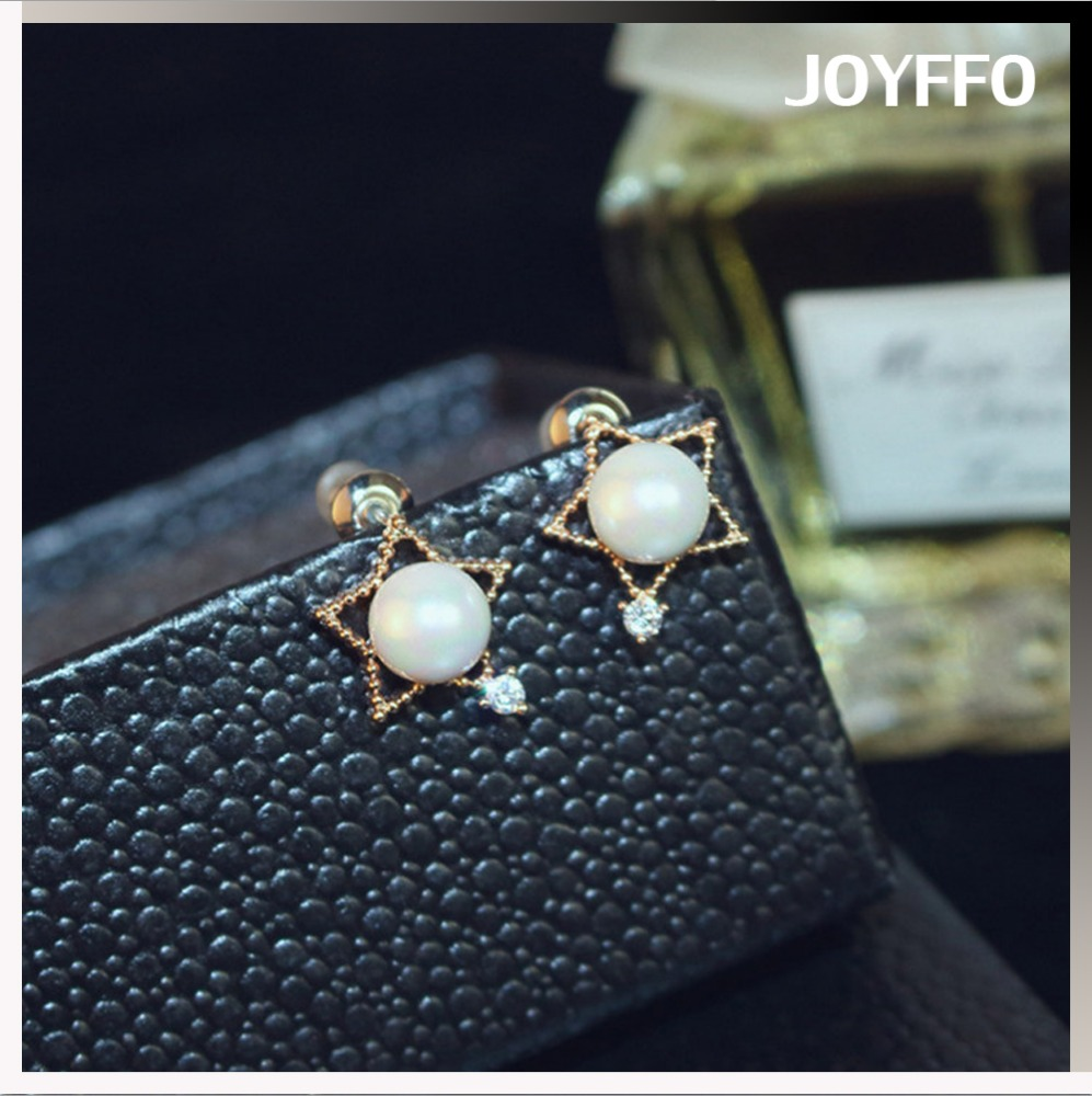 Pearl Pentagon Zircon Stud Earrings Women White Artificial Pearl Jewellery Ladies Earrings Designs Pictures