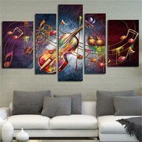 5Planes Violin Picture Large Huge Size Wall Art Canvas Painting Guitar Music Home Decor Posters Prints Art Living Room No Frame