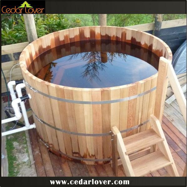 preferido tubo redondo spa al aire libre cubierta de madera barril