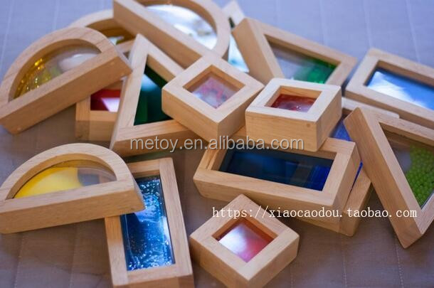 Handmade acrylic wooden rainbow hui mei building block set