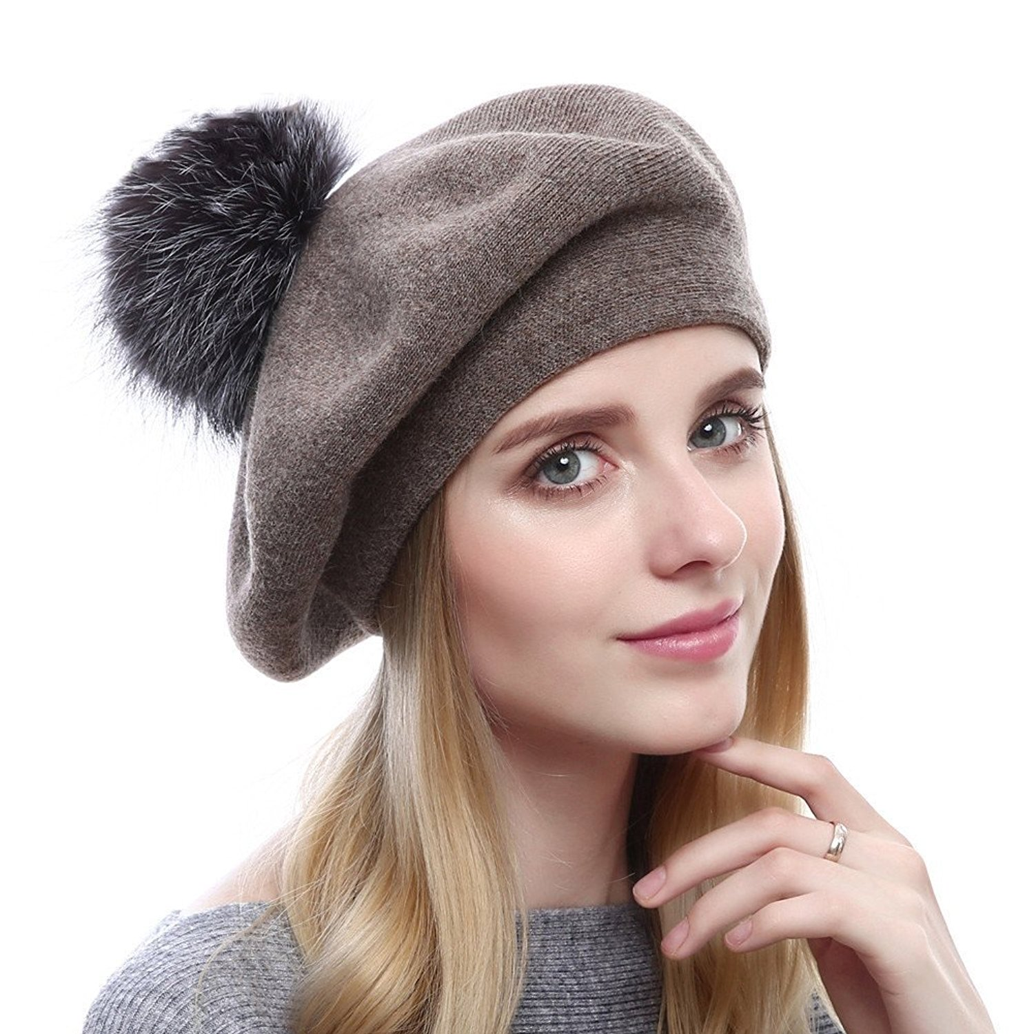 Women Wool Beret Real Fox Fur PomPom Beanie Winter Knit Cashmere Hat Solid Color