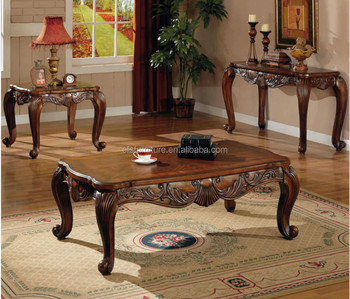 Luxury Classic Solid Wood Cafe Furniture Narrow Coffee Table Set
