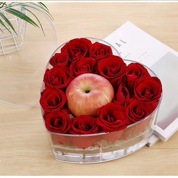 Cheap Heart Shape Clear Plastic Rose Flower Box