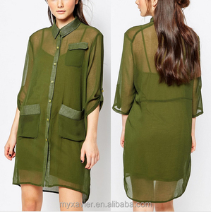 Adjustable sleeve shirt dress with military pockets slip underlay v-neckline button closure front for simple long blouse women