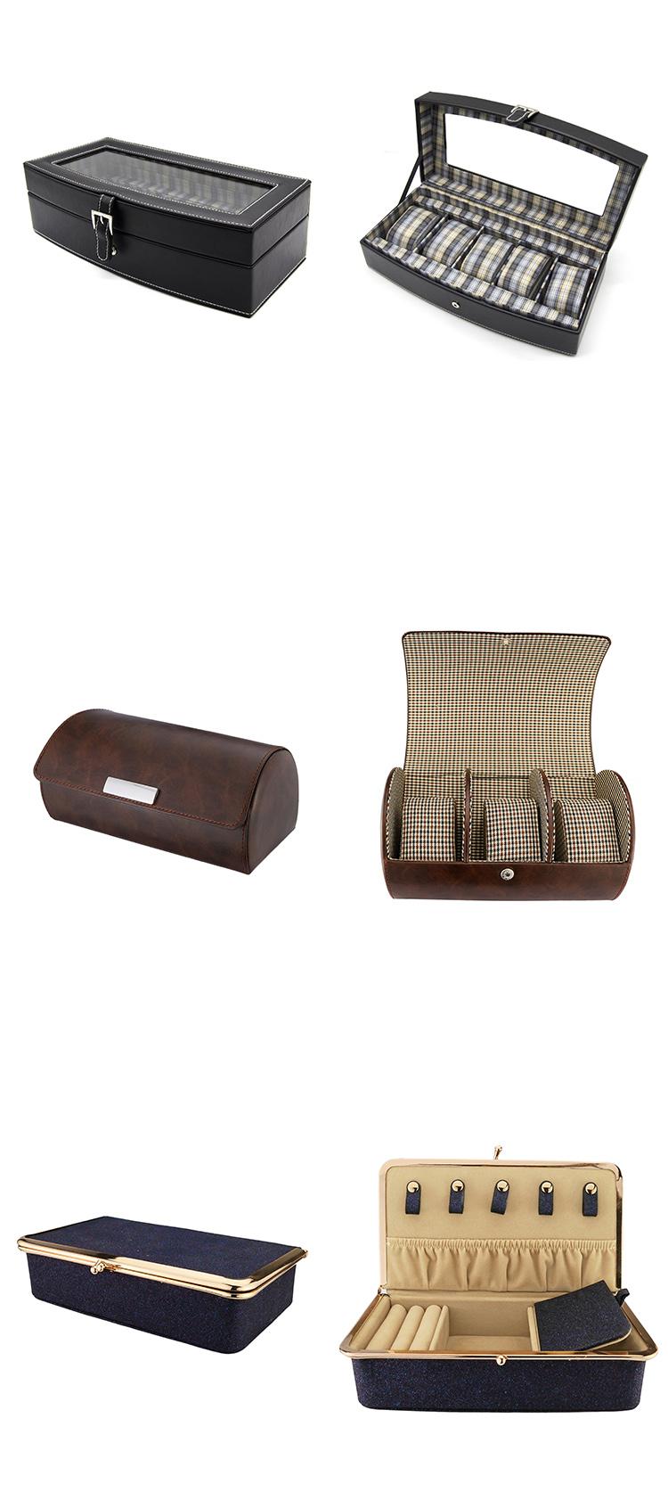 Custom Logo Luxury Watch Storage Organize 5 Slots Leather Watch Box with Pillow
