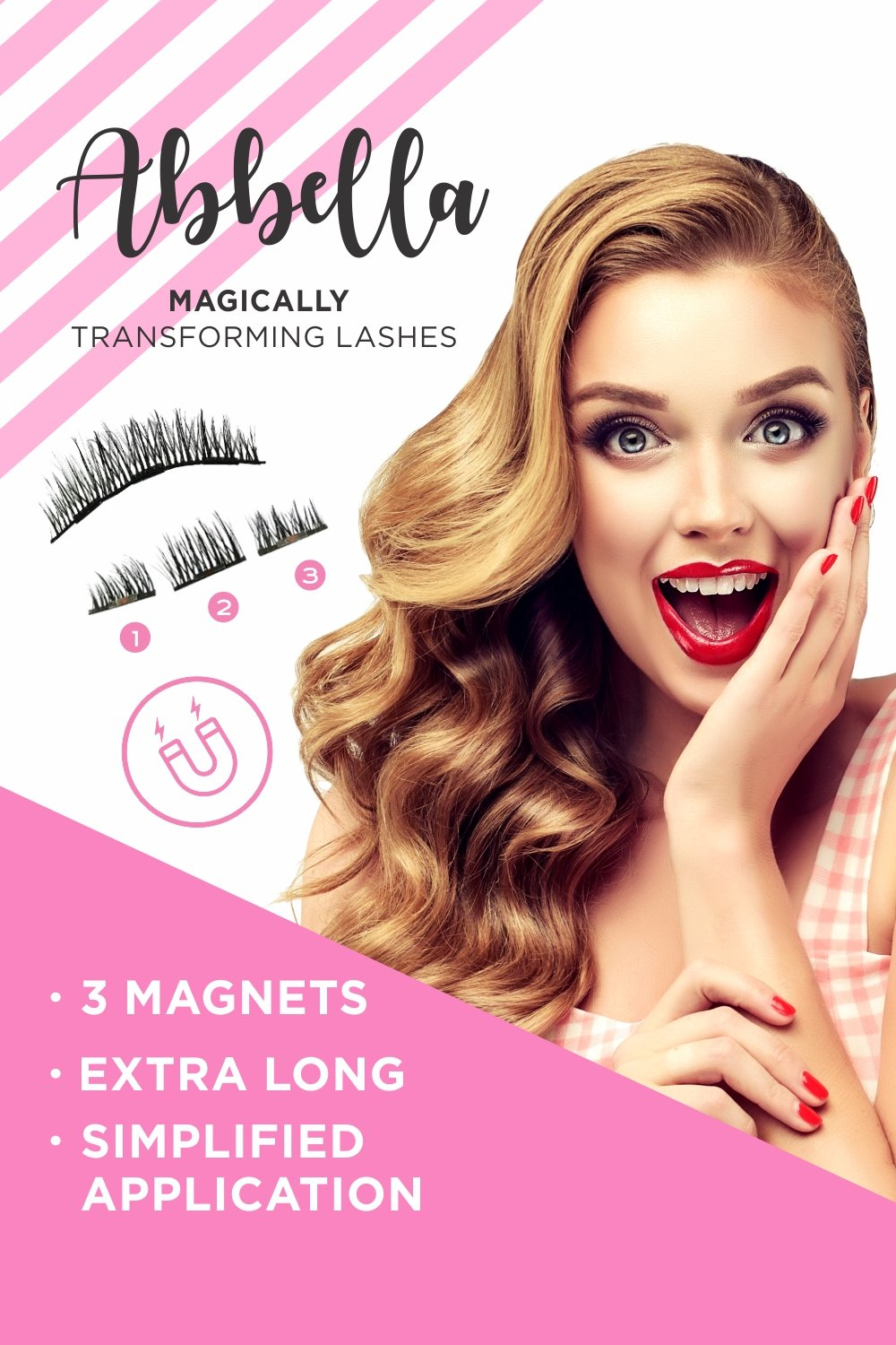 c9e3ff7e7a1 Triple Magnetic Eyelashes [No Glue] Faux False Extensions Set for Natural  Look - Fake