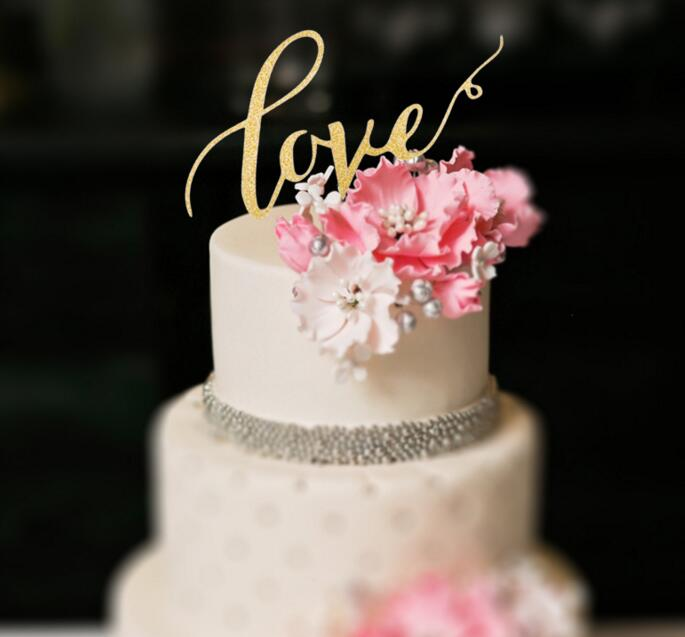 wedding cake decor - LOVE Wedding Cake Topper , Personalized Design Wedding Party <strong>Decoration</strong> Cake Accessory